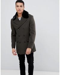 Dark Green Fur Collar Coat