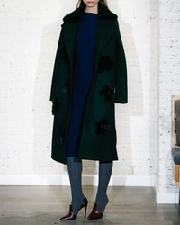 Lela Rose Long Coat With Mink Fur Flowers Collar Emerald