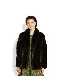 Alice + Olivia Alita Faux Fur Coat Dark Green