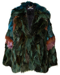 Fox fur jacket in green medium 108545