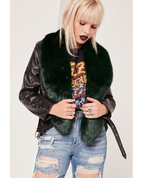 Missguided Faux Fur Stole Scarf Green