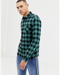 Dark Green Gingham Flannel Long Sleeve Shirt