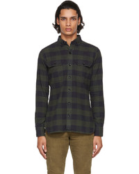 Tom Ford Green Navy Military Check Leisure Shirt