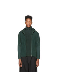 Homme Plissé Issey Miyake Green Pleats Zip Up Hoodie