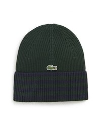 Dark Green Horizontal Striped Beanie