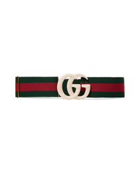 05c1318d230 Gucci Embellished Striped Canvas Belt