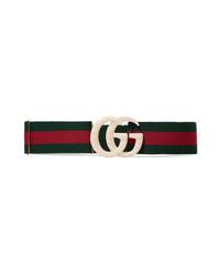 Gucci Embellished Striped Canvas Belt