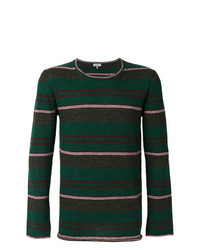 Dark Green Horizontal Striped Crew-neck Sweater