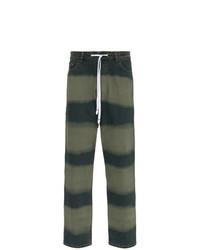 Dark Green Horizontal Striped Jeans