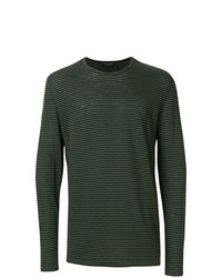 Dark Green Horizontal Striped Long Sleeve T-Shirt