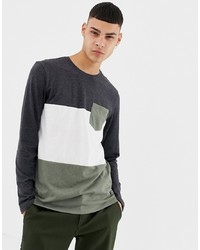 YOURTURN Long Sleeve Top With Colour Block In Grey And White