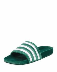 adidas Adilette Striped Velvet Slide Sandal Green
