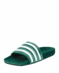 adidas Adilette Striped Velvet Slide Sandal Green