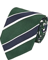 Bigi Striped Silk Necktie Green