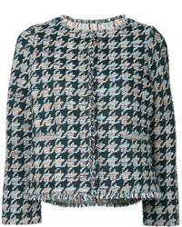 Houndstooth pattern tweed jacket medium 4985501