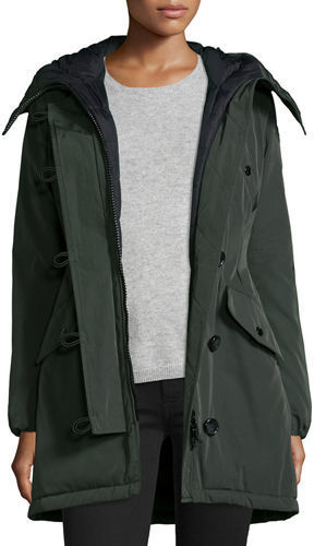 ... Dark Green Jackets Moncler Aredhel Hooded Down Fur Trim Jacket ...