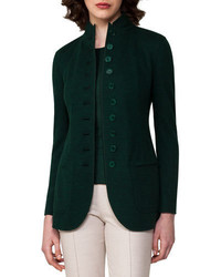 Cashmere jersey button front jacket forest medium 3698263