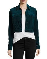 Faye shrunken velvet jacket navy medium 1125150