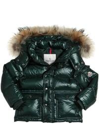 Moncler Hubert Fur Trim Nylon Laqu Down Jacket