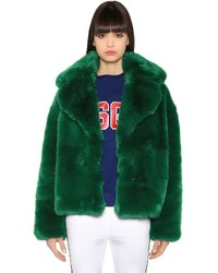 MSGM Oversized Faux Fox Jacket