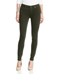 7 For All Mankind Mid Rise Skinny Jean In Brushed Sateen Hunter Green