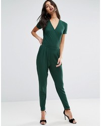 Wrap front jersey jumpsuit with short sleeve medium 976560