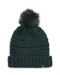 Cable knit beanie with faux medium 8709490
