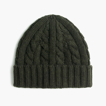 Cashmere Cable Knit Beanie Hat. Dark Green Knit Beanie by J.Crew