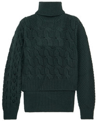 Dark Green Knit Cable Sweater