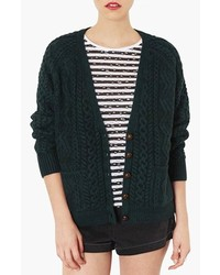 Topshop Cable Knit V Neck Cardigan Green 2
