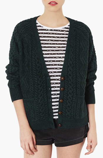 Topshop Cable Knit V Neck Cardigan Green 2 Where To Buy How To Wear