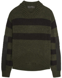 Haider Ackermann Oversized Striped Knitted Sweater Dark Green