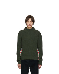 Thom Browne Green Stripe Relaxed Fit Boat Neck Sweater
