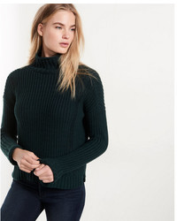 Express Shaker Knit Funnel Neck Pullover Sweater