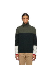 JW Anderson Green Knitted Colorblock Turtleneck