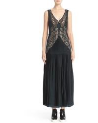 Stella McCartney Lace Trim Plisse Satin Dress