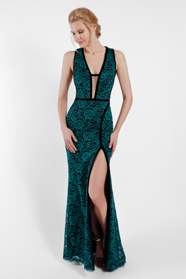 Terani Couture 1722e4191 Plunging Neckline Lace Evening Gown | Where ...