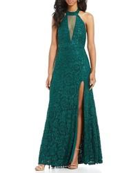 caab0b83955 ... Sequin Hearts Choker Neck Sequin Lace Long Dress