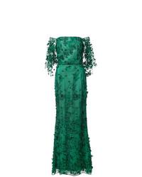 Marchesa Notte Floral Off The Shoulder Dress