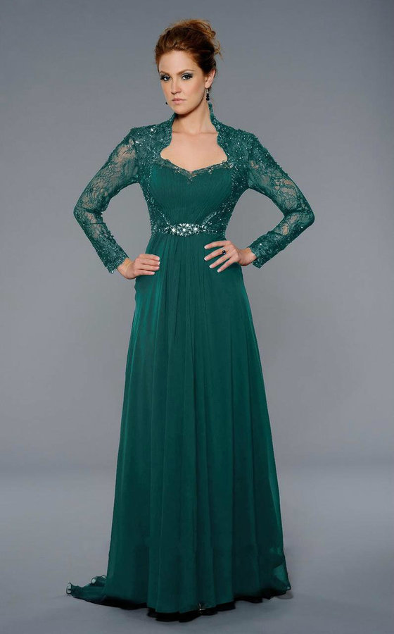 Lara Dresses Long Sleeved Lace Queen Anne A Line Gown 32251 | Where ...
