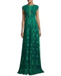 Monique Lhuillier Ml Open Back Lace Gown