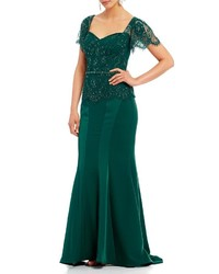 Montage By Mon Cheri Sequin Lace Bodice Mermaid Gown