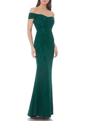 JS Collections Off The Shoulder Velvet Gown