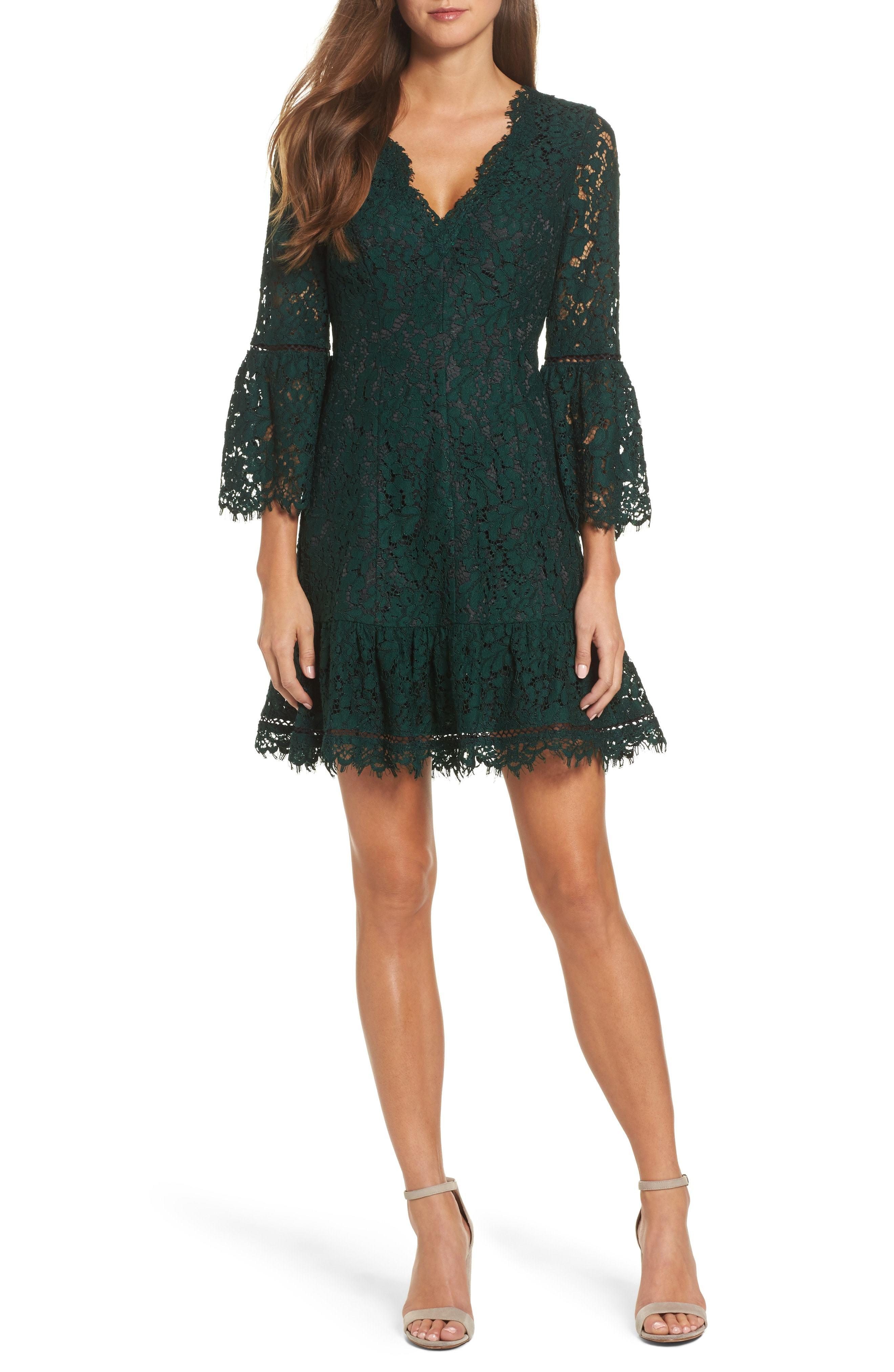 Bell Sleeve Lace Dress