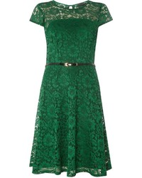 Green Lace Belted Fit Flare Dress