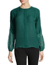 Dark Green Lace Long Sleeve Blouse