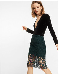 Dark Green Lace Pencil Skirt