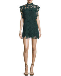 Dark Green Lace Shift Dress