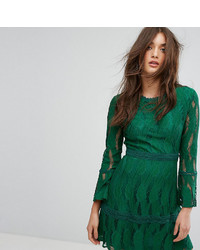 Boohoo Flare Sleeve Lace Insert Dress
