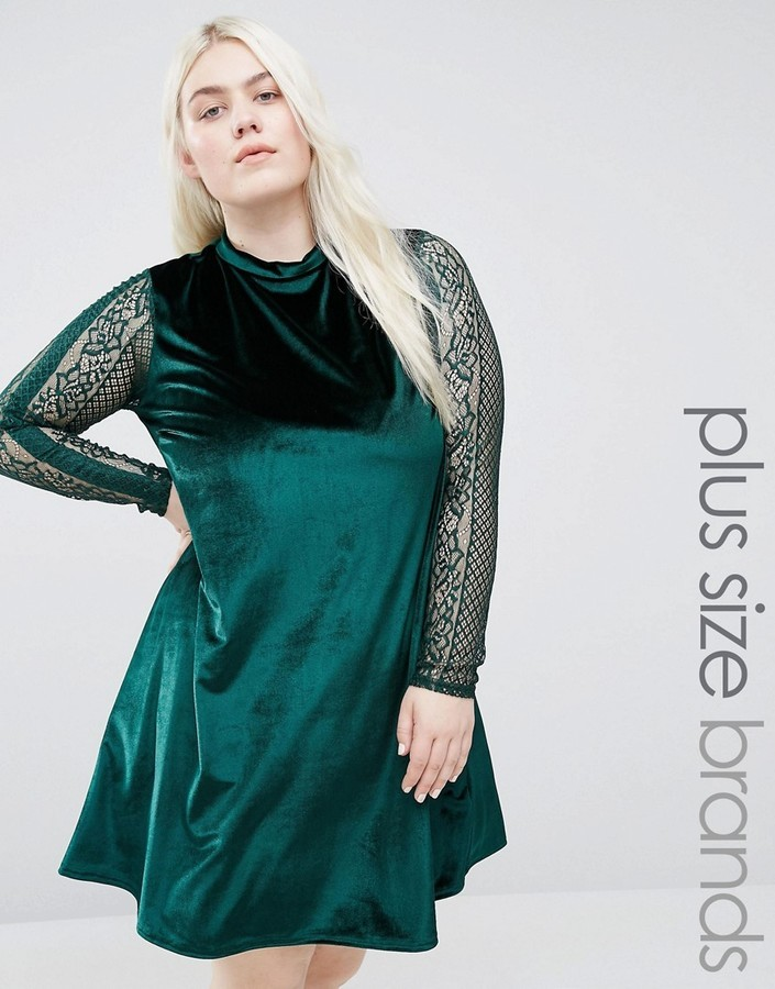 9bc1493c6ddc ... Green Lace Swing Dresses Club L Plus Velvet Swing Dress With Lace  Sleeves ...